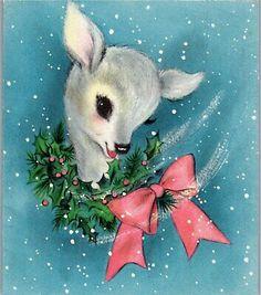 Vintage Deer Card ♡ღ Christmas Card Images, Vintage Christmas Images, Christmas Deer, Christmas Animals, Retro Christmas, Vintage Holiday, Christmas Greeting Cards, Christmas Pictures, Christmas Greetings