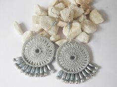 Crochet textile jewelry beaded earring gray curved by wincsike,