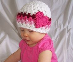 Crochet Heart Beanie in White, cranberry, hot rose, and pink- Newborn, baby, toddler, child size- Colors custmizable. $16.00, via Etsy.