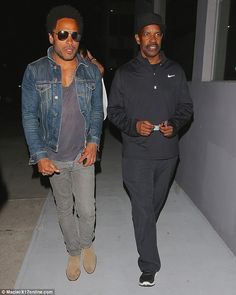 These guys rule: Lenny Kravitz headed to dinner at Crossroads vegan restaurant in LA with friend Denzel Washington on Thursday after hanging out together at his Flash photography exhibit