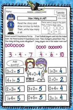 Kindergarten Math Homework! Great for spiral reviews, for math morning work, and for math centers! Teaching Addition, Addition Activities, Kindergarten Math Activities, Teaching Math, Morning Work, Anchor Charts, Math Centers, Homework, Lesson Plans