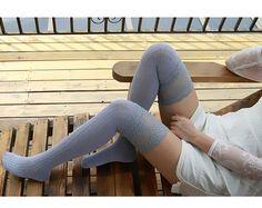Light Gray Womens Knit Socks Knee Socks Thigh High by LiLiSocks