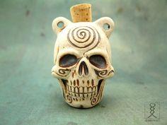 Skull Pendant Ceramic Bottle Pendant High Fired Clay by HempCraft, $6.98