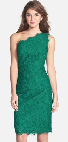 Elegant One-Shoulder Lace Sheath Dress http://rstyle.me/n/tn3pebh9c7