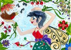 WHIMSICAL FOLK ART - ACEO - CHRISTMAS  - FAIRY - ROBIN - OOAK ROBIN JAYNE #OutsiderArt