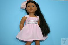 Pretty in pink petal sparkles formal dress by PiperRoseBoutique on Etsy. Made following the LJC Aspen Party Dress pattern. Get it here http://www.pixiefaire.com/products/aspen-party-dress-18-doll-clothes. #pixiefaire #libertyjane #aspenpartydress