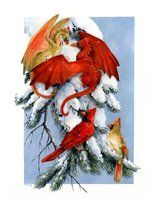 Cardinals by Hbruton Dragon Statue, Dragon Art, Magical Creatures, Fantasy Creatures, Fantasy World, Fantasy Art, Fantasy Life, Christmas Dragon, Christmas Pics