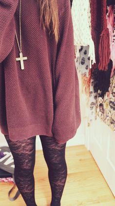 Long sweater with cross necklace and cute leggings <3