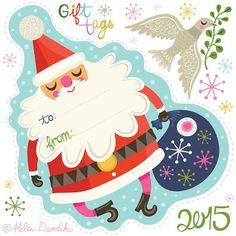 orange you lucky!: Santa & His Assistant . . . Holiday Tags 2015 . . . #helendardik #etiquetasdenatal