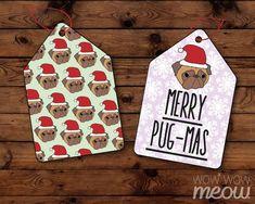 Christmas Pug Tags Pugs Holidays Labels Cute Dog Present Gift Tags Printables Merry Happy Cute Xmas Festive Mint Lilac Snowflake Prints Dog Presents, Merry Happy, Gift Tags Printable, A4 Paper, Present Gift, Print And Cut, Pugs, Cute Dogs, Pug Breed