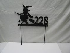 Witch Address Sign Custom Metal Yard Art by cabinhollow on Etsy