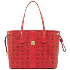 MCM Liz Medium Reversible Tote ($620) ❤ liked on Polyvore featuring bags, handbags, tote bags, apparel & accessories, red tote, reversible tote, handbag tote, tote purses and red tote handbags