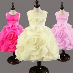Girls Dress Children's Princess Dresses pleated round neck wedding Kids Dress flower girl party performance costume #>=#>=#>=#>=#> Click on the pin to check out discount price, color, size, shipping, etc. Save and like it!