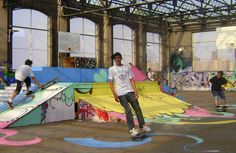 Rooftop skatepark Skate Ramp, Urban News, Installation Art, Rooftop, Indoor, Bap, Workspaces, Skateboards, Side View