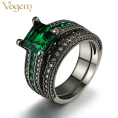 VOGEM Black Light Yellow Color Green Ring Set Filled Created Emerald Zircon Tungsten Square Party Cocktail Ring anillos mujer