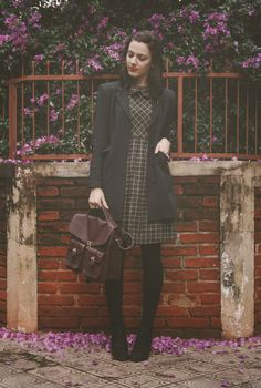 Love the plaid paired with dark solids. Nice look for work in cooler weather