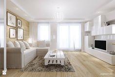 Jasne drewno na podłodze i ścianie oraz delikatne, białe dodatki wyglądają nowocześnie, lekko i przytulnie, prawda? :)  Wpadnij do nas po materiały do wykończenia domu! http://eurostandard.pl/  Foto: http://www.homebook.pl/inspiracje/salon/166999_-salon-styl-nowoczesny