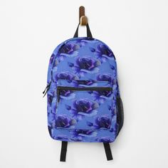 """""""Blue Rose Floral Pattern"""" Backpack by HavenDesign   Redbubble Blue Roses, Vera Bradley Backpack, Fashion Backpack, Clutches, Floral Design, Backpacks, Handbags, Pattern, Stuff To Buy"""