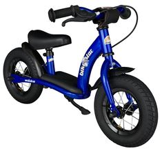 BIKESTAR® Original Safety Lightweight Kids First Balance Running Bike with brakes and with air tires for age 2 year old boys and girls | 10 Inch Classic Edition | Adventurous Blue