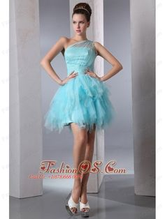 Aqua Blue Column One Shoulder Short Prom Dress Asymmetrical Organza Beading