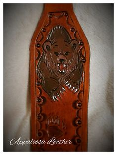 Cobra Style Custom Handmade Leather Tooled Rifle Sling - Grizzly Brown Bear Design Background oil dye color of saddle tan (if youd like over Leather Carving, Leather Tooling, Leather Projects, Leather Crafts, Leather Rifle Sling, Brown Bear, Black Bear, Blacksmithing Knives, Budget Planer