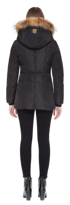 ADALI FITTED WINTER DOWN COAT WITH FUR HOOD IN BLACK