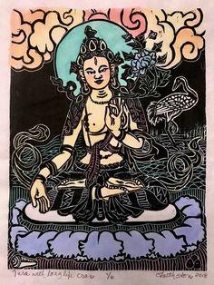 Tara with long life crane, Goddess of loving kindness and compassion, Tara woodblock, Buddha art, mo Domino Art, Thangka Painting, Buddha Art, Goddess Of Love, Paper Artwork, Magic Art, Hindu Art, Watercolor And Ink, Buddhism