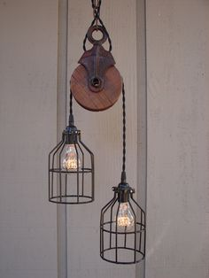 Industrial Pulley Pendant Light. $235.00, via Etsy.
