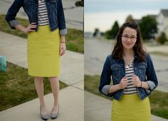 Bramblewood Fashion ❘ Modest Fashion Blog: What I Wore ❘❘ On the Preppy Side of Life - oh my gosh I want a yellow skirt!