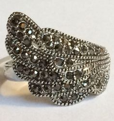 Silver Rhodium Plated Angel Wing Ring Goth Black Marcasite Crystal Size 6 USA #Unbranded #Wrap