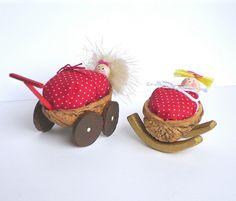 Walnut craft by SunnyDayArt, via Flickr Handmade Crafts, Diy And Crafts, Arts And Crafts, Nature Crafts, Home Crafts, Walnut Shell Crafts, Rustic Christmas, Christmas Ornaments, Baby Fairy