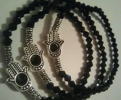 Hamsa hand of Fatima Protection in Black Crystal stretch bracelets 3 ...