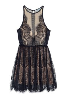 Lace up black dress - An elegant dress by Three Floor with contemporary attitude. Sleeveless design, and sexy combination of black lace and nude mesh with button closure and slid to the back. Mesh: 100% PolyamideLace: 100% PolyamideLining: 95% Polyester 10% Elastane Cool hand wash