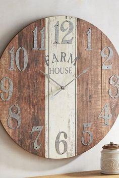 Rustic Wall Clocks, Farmhouse Wall Clocks, Wood Clocks, Rustic Walls, Farmhouse Decor, Farmhouse Style, Farmhouse Ideas, Diy Wall Clocks, Diy Clock
