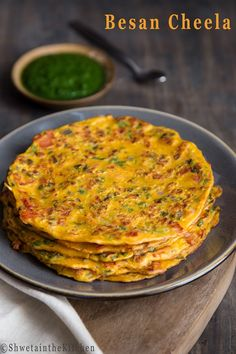 Tomato Omelette also known as Besan Cheela/Chilla is an eggless savory Indian pancake/crepe made with gramflour (also known as chickpea . Flour Recipes, Veggie Recipes, Indian Food Recipes, Vegetarian Recipes, Healthy Recipes, Veggie Food, Free Recipes, Chicken Recipes, Kitchen Recipes