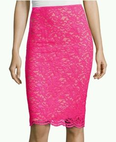 Sexy Lace Pencil Skirt 2X 20 XXL Bright Pink Shimmer Lined RETAIL $48 NEW!