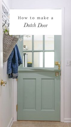 Create a Dutch door from an old door This DIY project is a step by step tutorial on how to make a Dutch door from an old door. Great for entryway, laundry, garage. With or without a window regular or half door. Add to your curb appeal and make your entr Make A Door, Diy Door, Half Doors, Windows And Doors, Door With Window, Küchen Design, Door Design, Diy Exterior Dutch Door, Dutch Door Interior