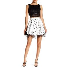 City Triangles Lace Flared Skirt Two-Piece Dress (Juniors) ($55) ❤ liked on Polyvore featuring dresses, skater skirts, flared skirt, 2 piece dress, 2 piece white dress and flare dress