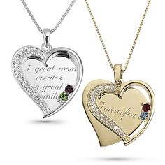 The love you share is the heart of your family. Celebrate it, and them, with this gorgeous birthstone necklace. Our unique take on the classic pendant, it features two hearts, one a solid, sterling silver plaque, and the other an open heart with glimmering CZ stones and two to six birthstones. https://www.thingsremembered.com/sterling-swing-heart-necklaces/product/651475?fcref=pinterest