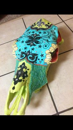 Funky Cow Skull Painted and Blinged