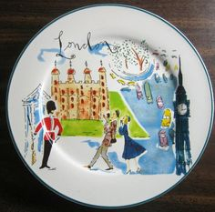 Decorative Dishes - Whimsical London Bridge Big Ben Couple Cartoon Bon Voyage Plate, $19.99 (http://www.decorativedishes.net/whimsical-london-bridge-big-ben-couple-cartoon-bon-voyage-plate/)