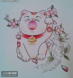Diseño de Lilieth Gatos, Animales, Maneki-neko, Orientales En ZonaTattoos, tu web de tatuajes