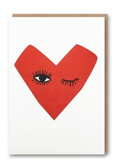 Winking Heart Letterpressed Greetings Card Sold in Anti Valentines Day, Valentine Day Gifts, Modern Caligraphy, Heart Cards, Kraft Envelopes, Paper Goods, Letterpress, Typography Design, Greeting Cards