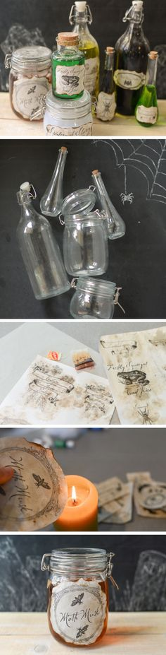 Creepy Potions Bottles with Free Printable Labels | Click Pic for 20 DIY Halloween Decorations for Kids to Make | Cheap and Easy Halloween Decorations on a Budget