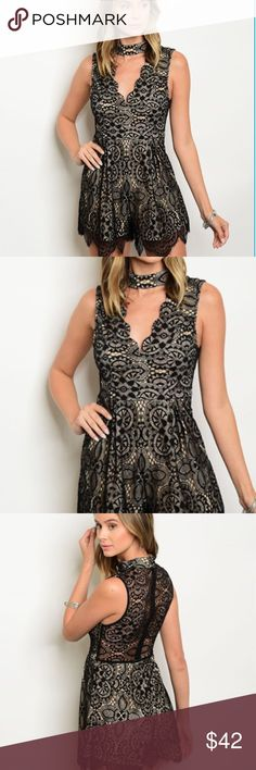 TAN AND BLACK LACE IS IT ROMPER  LAST ONE THIS IS THE ONE⚜️LACE ROMPER WITH SHEER LACE BACK. LACE UNDERLAY TAN. WITH CHOCKER ⚜️THIS SEASONS MUST HAVE.  65% COTTON 32% POLYESTER. 3% SPANDEX. SIZING TO ME RUNS SMALL. SIZE UP.  IF YOU HAVE ANY QUESTIONS PLEASE ASK. ITS IMPORTANT THAT THE ITEM FITS.  JUNIOR FIT. SMALL IS BETWEEN XS-SMALL. Pants Jumpsuits & Rompers