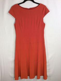 Jones Wear Womens Dress Orange Classic Neckline A-Line