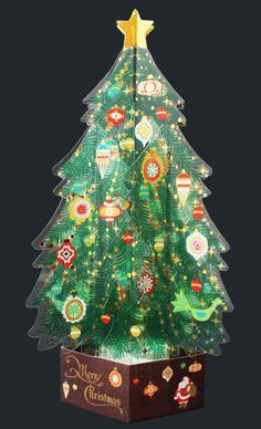 Green Crystal 3D Christmas Tree Pop Up Greeting Card #NihonHallmarkKK #ChristmasTree #Christmas