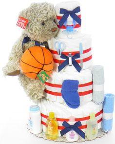 Interchangeable Sports Diaper Cake Sports Diaper Cakes, Giveaways, Diaper Cupcakes, Fun Ideas, Craft Ideas, Baby Shower, Baby Cakes, Crafty, Diapers