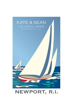 Wedding poster Rhode Island Sailboats 12 x 18 by erinmaryg on Etsy