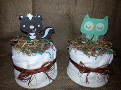 mini woodland forest animal themed baby shower diaper cake httpwww